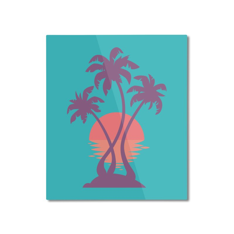 3 Palm Sunset Home Mounted Aluminum Print by Waynem