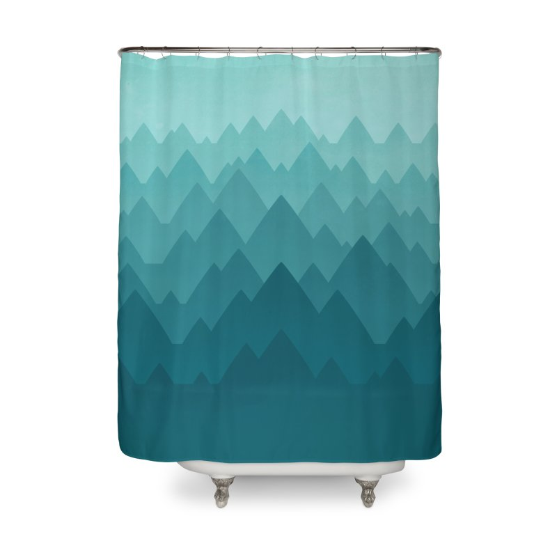 Mountain Vista: Green Home Shower Curtain by Waynem
