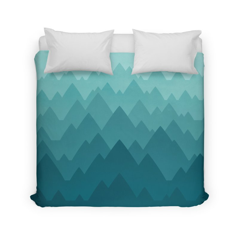 Mountain Vista: Green Home Duvet by Waynem