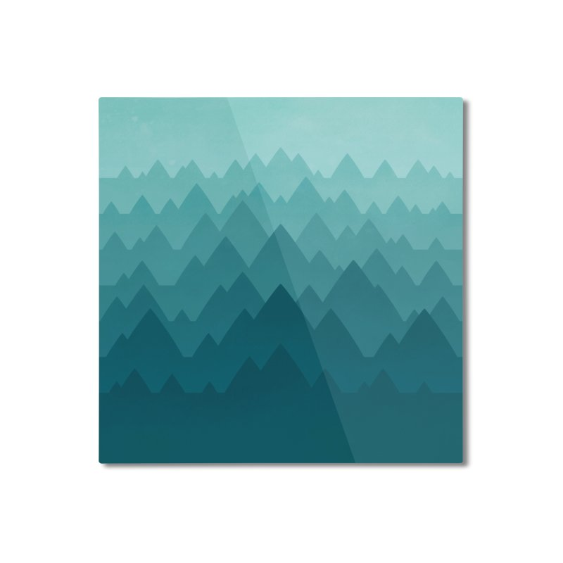 Mountain Vista: Green Home Mounted Aluminum Print by Waynem