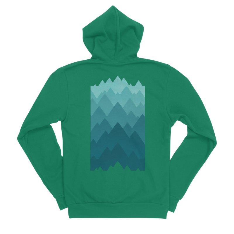 Mountain Vista: Green Men's Sponge Fleece Zip-Up Hoody by Waynem