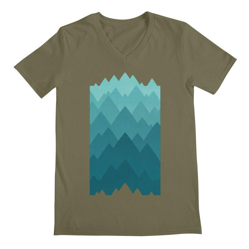 Mountain Vista: Green Men's Regular V-Neck by Waynem