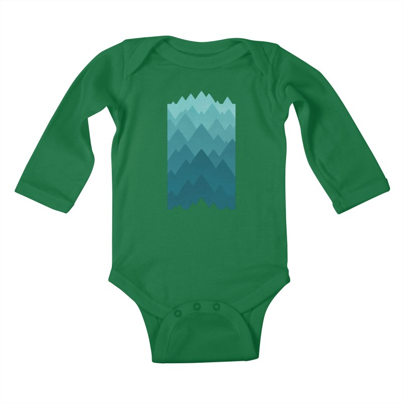 Mountain Vista: Green Kids Baby Longsleeve Bodysuit by Waynem