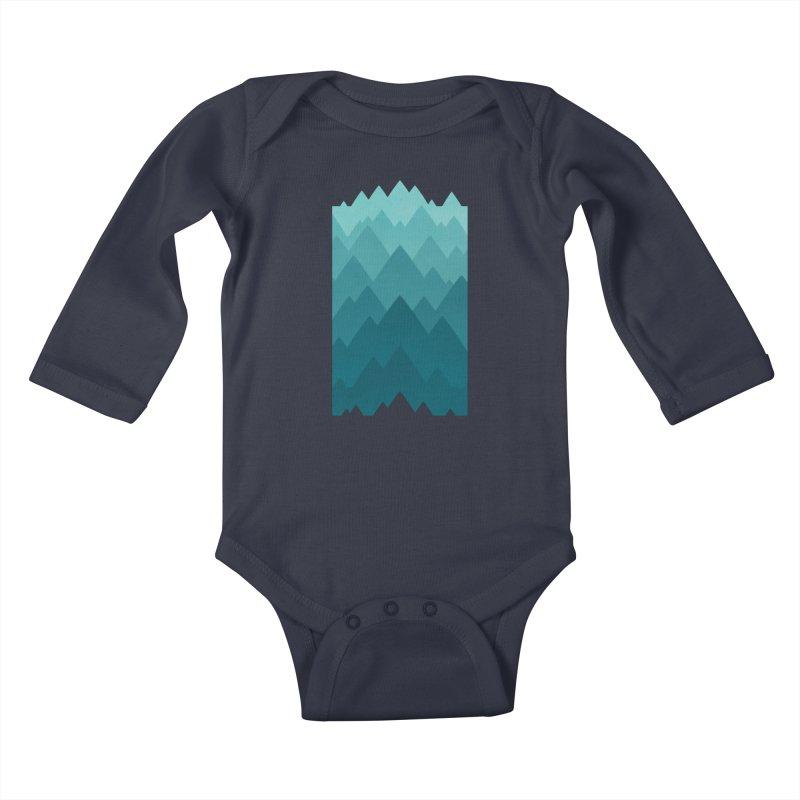 Mountain Vista: Green Kids Baby Longsleeve Bodysuit by Waynem