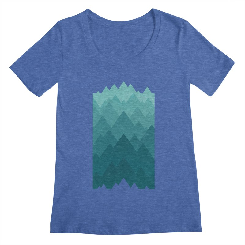 Mountain Vista: Green Women's Regular Scoop Neck by Waynem