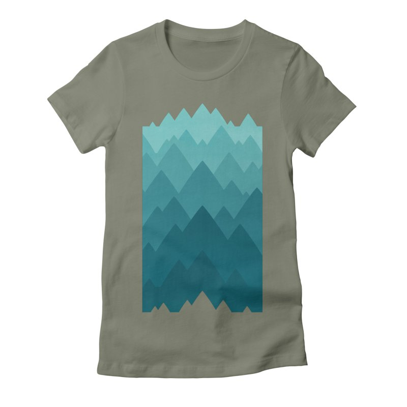 Mountain Vista: Green Women's Fitted T-Shirt by Waynem