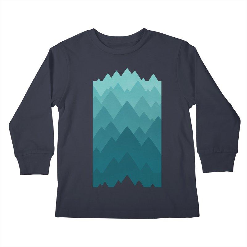 Mountain Vista: Green Kids Longsleeve T-Shirt by Waynem