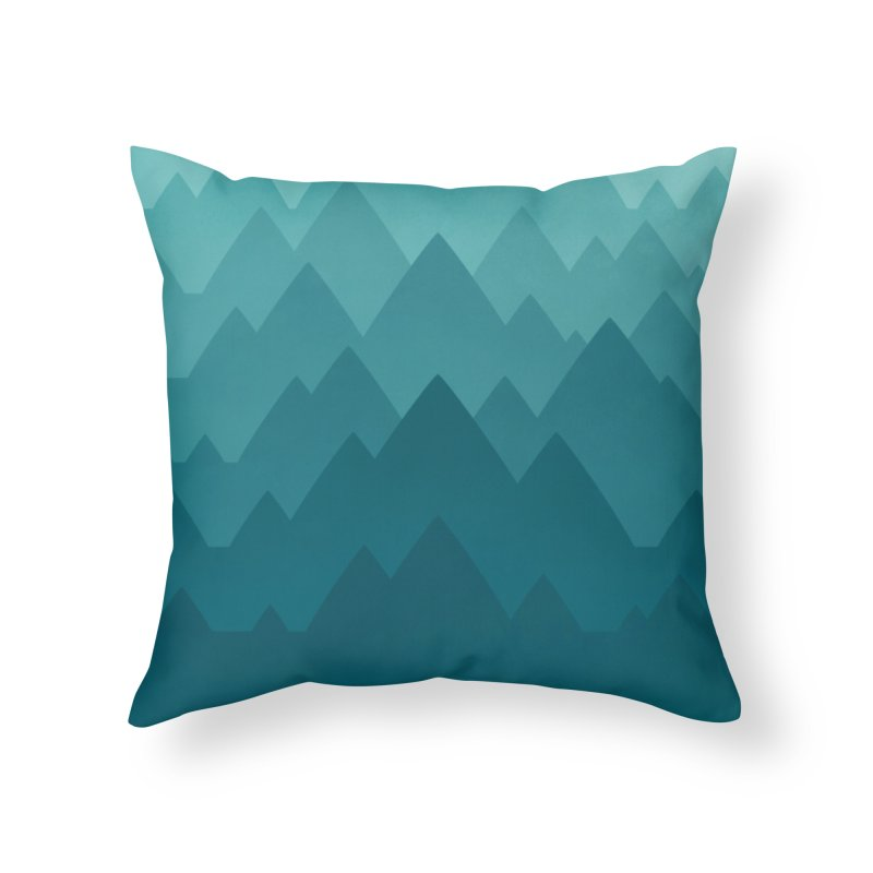 Mountain Vista: Green Home Throw Pillow by Waynem