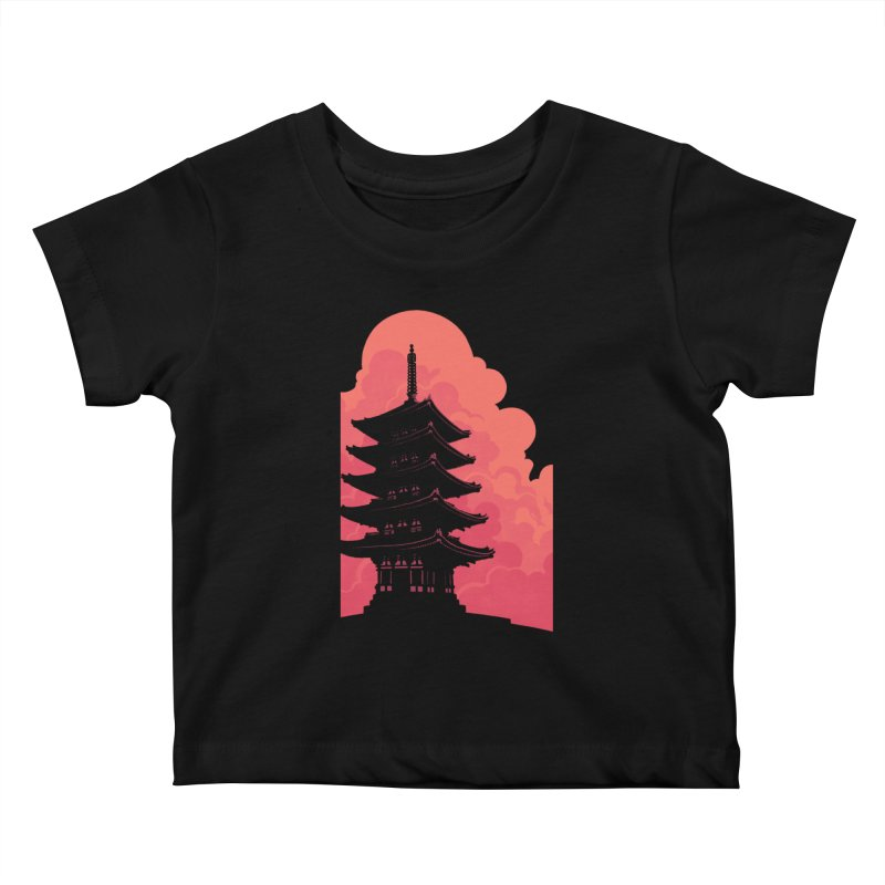 Pagoda Skyline Kids Baby T-Shirt by Waynem