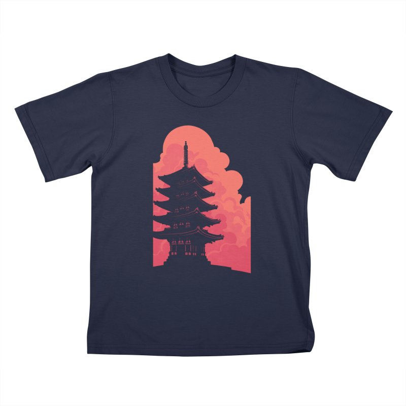 Pagoda Skyline Kids Toddler T-Shirt by Waynem