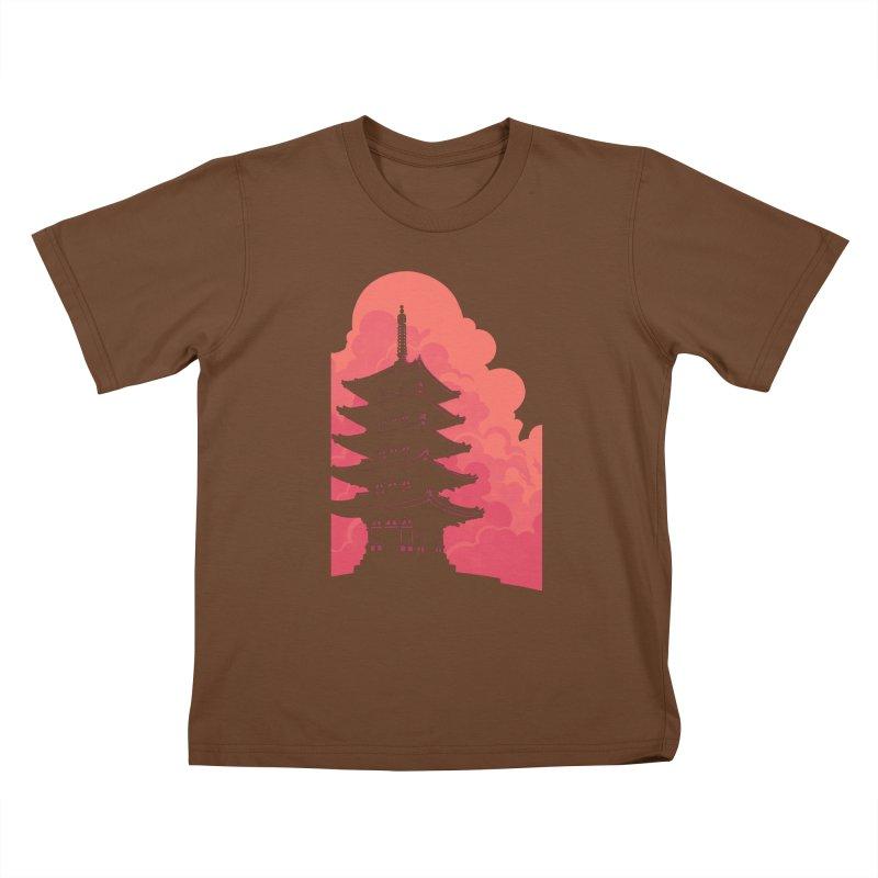 Pagoda Skyline Kids T-Shirt by Waynem