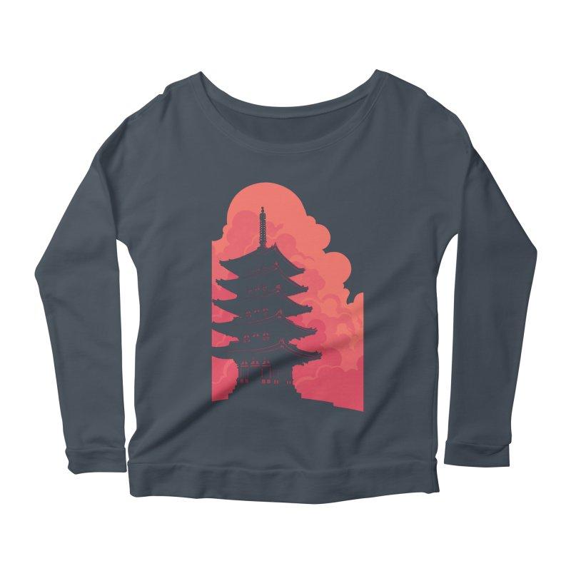 Pagoda Skyline Women's Scoop Neck Longsleeve T-Shirt by Waynem