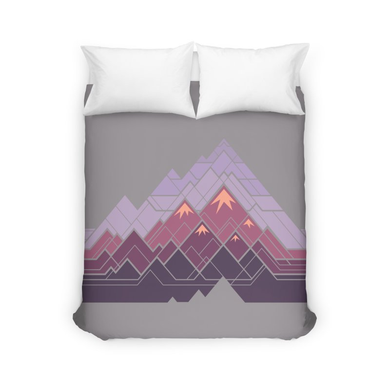 Geometric Mountains: Sunset Home Duvet by Waynem