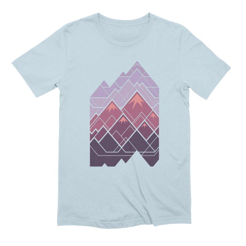 Geometric Mountains: Sunset Men's Extra Soft T-Shirt by Waynem