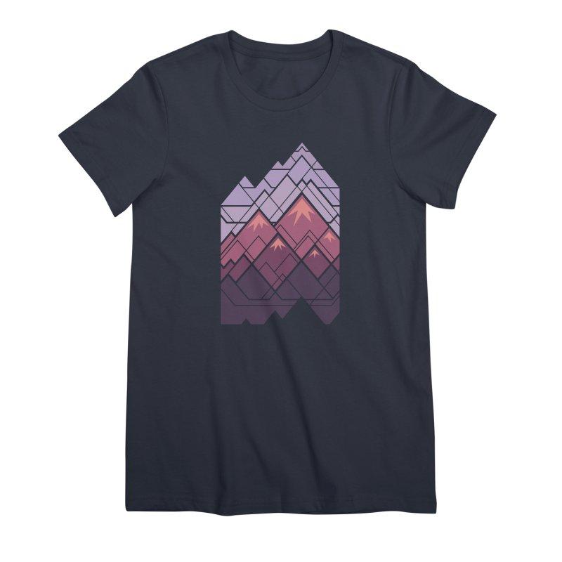 Geometric Mountains: Sunset Women's Premium T-Shirt by Waynem
