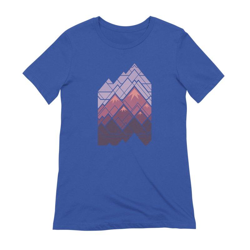 Geometric Mountains: Sunset Women's Extra Soft T-Shirt by Waynem