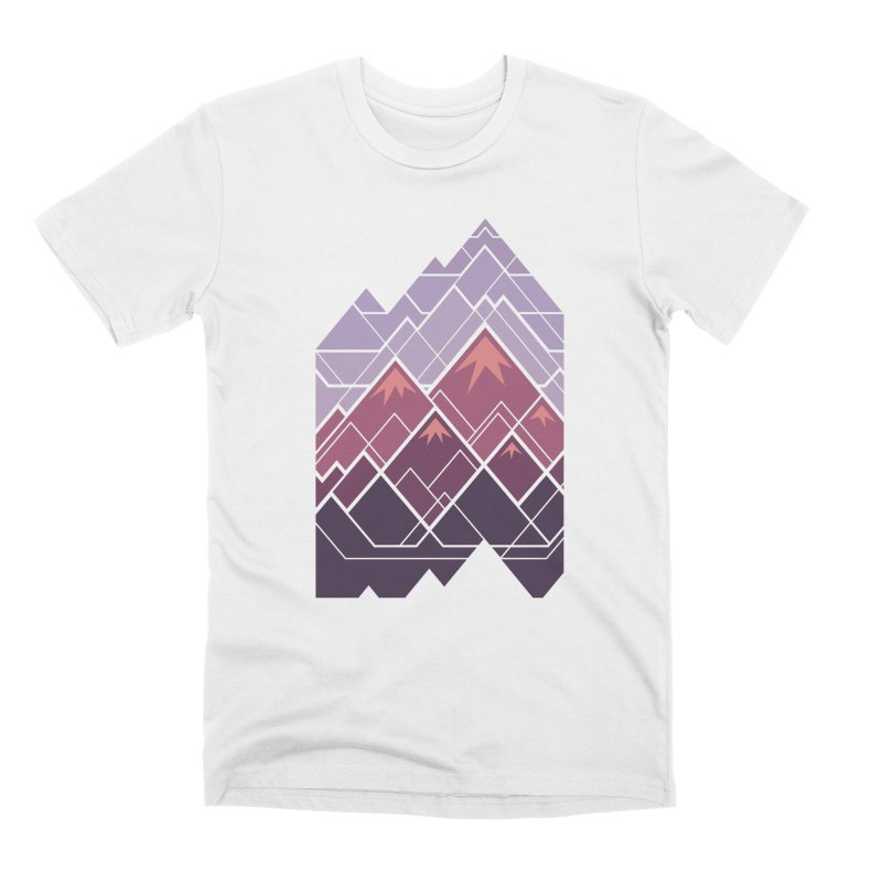 Geometric Mountains: Sunset Men's Premium T-Shirt by Waynem