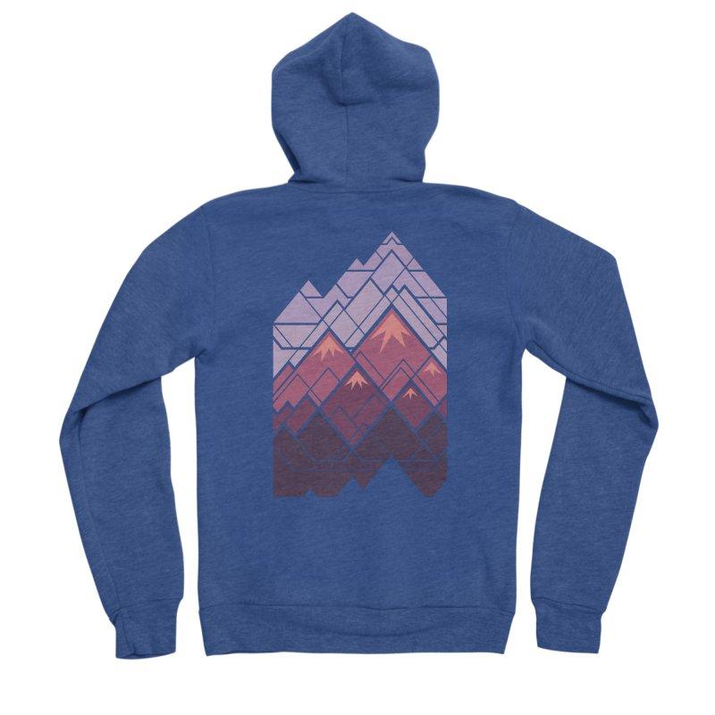 Geometric Mountains: Sunset Women's Sponge Fleece Zip-Up Hoody by Waynem