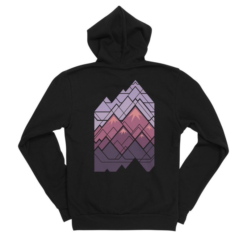 Geometric Mountains: Sunset Men's Sponge Fleece Zip-Up Hoody by Waynem