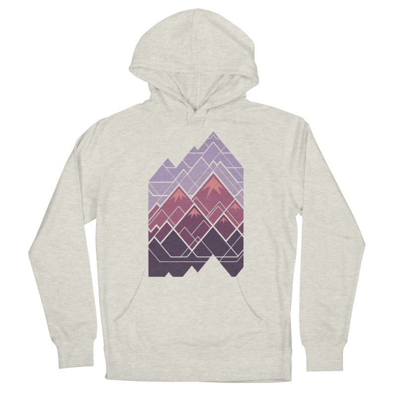 Geometric Mountains: Sunset Men's French Terry Pullover Hoody by Waynem