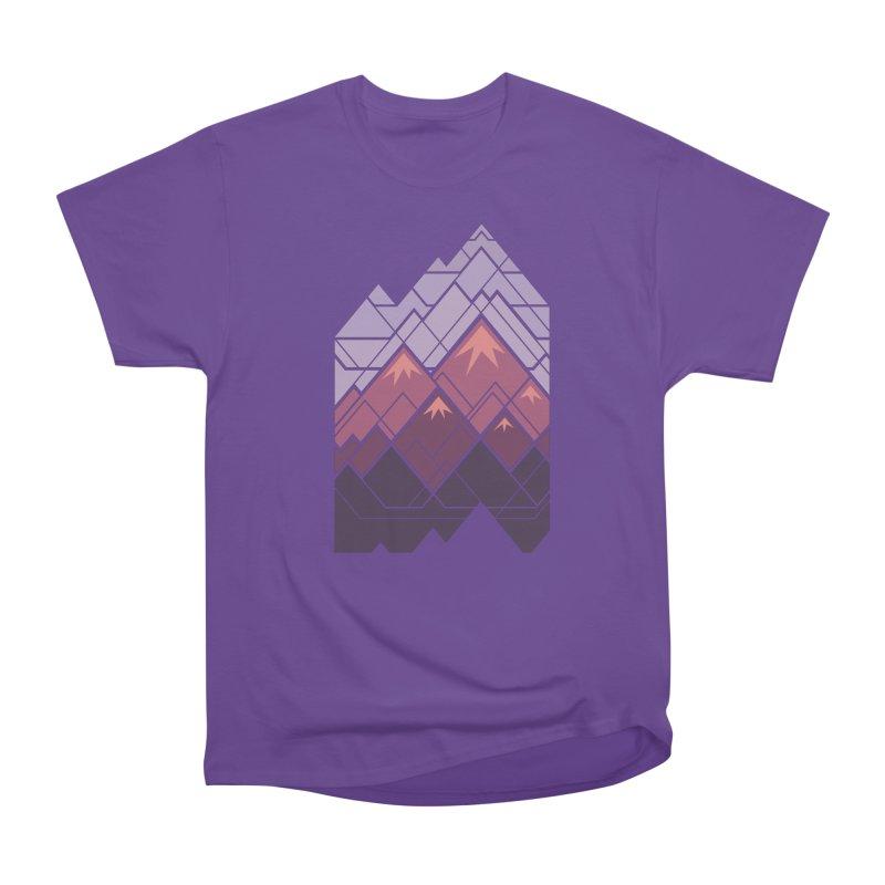 Geometric Mountains: Sunset Men's Heavyweight T-Shirt by Waynem