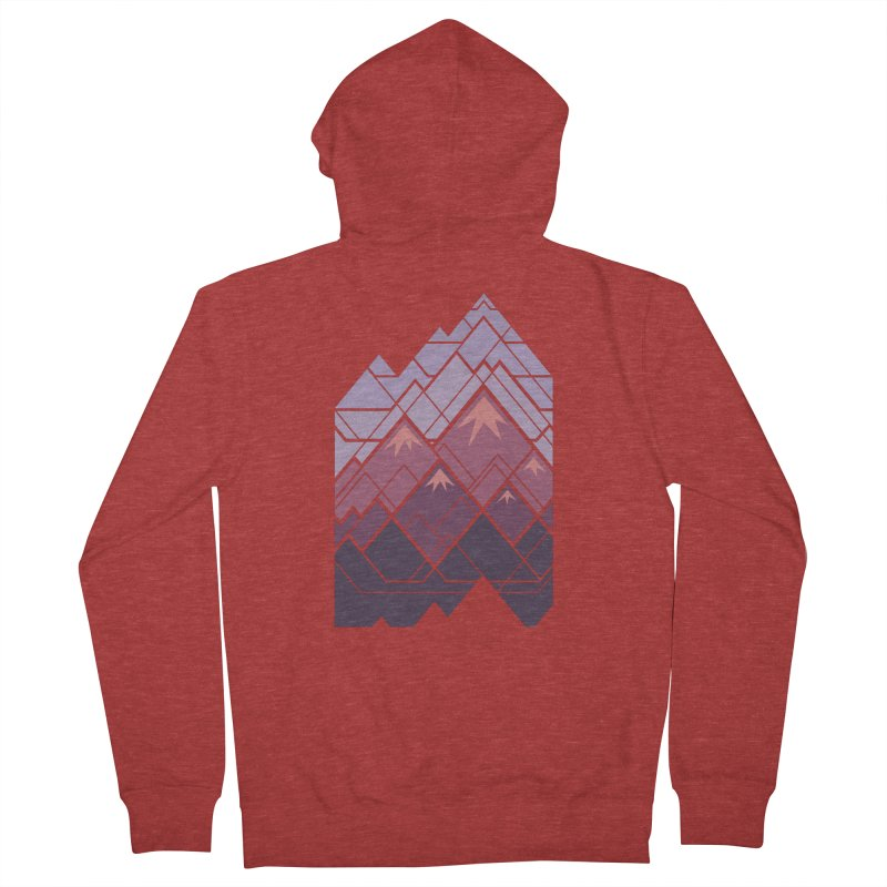 Geometric Mountains: Sunset Men's French Terry Zip-Up Hoody by Waynem