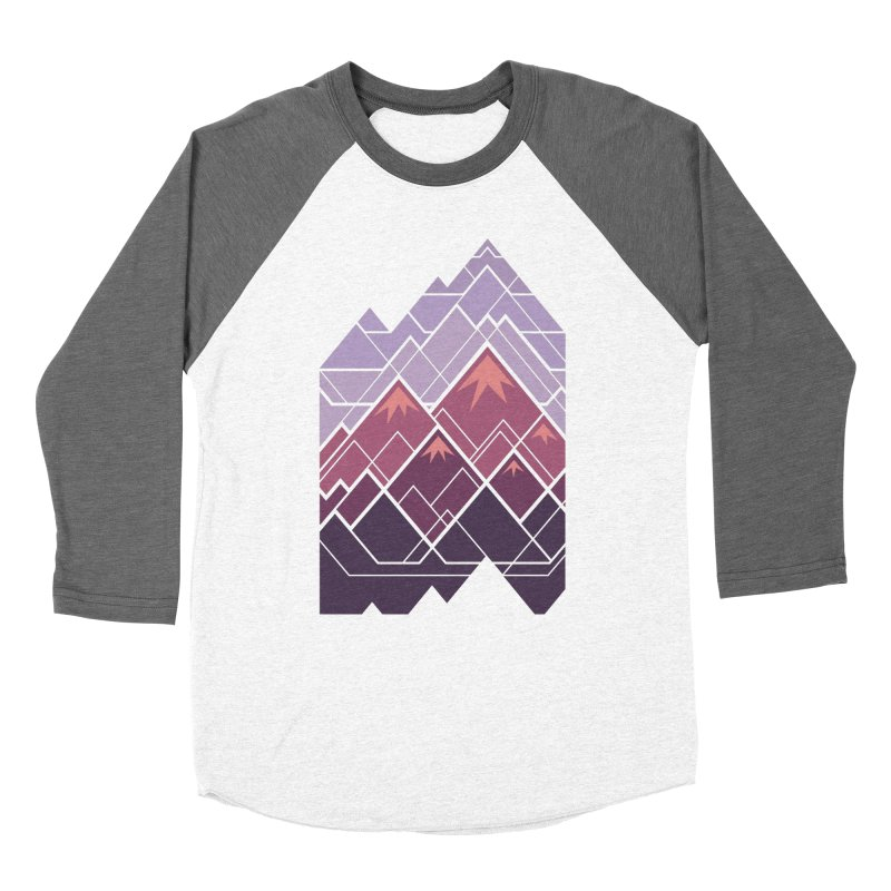 Geometric Mountains: Sunset Women's Baseball Triblend Longsleeve T-Shirt by Waynem