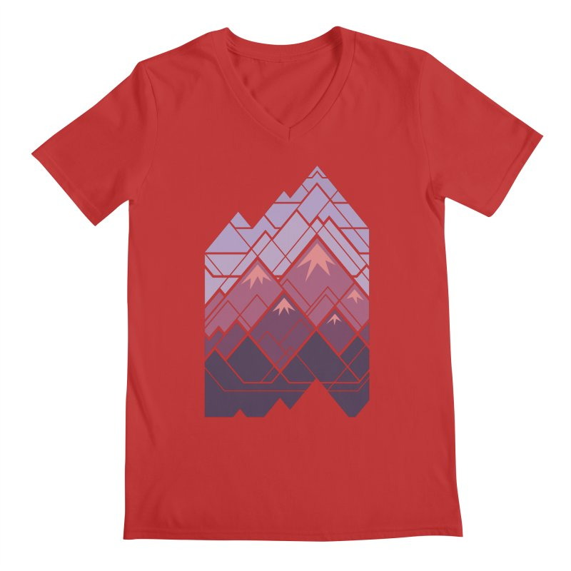 Geometric Mountains: Sunset Men's Regular V-Neck by Waynem