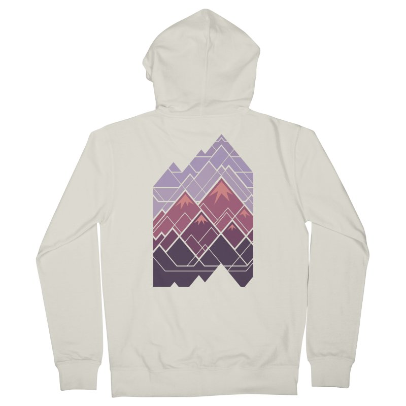 Geometric Mountains: Sunset Women's French Terry Zip-Up Hoody by Waynem