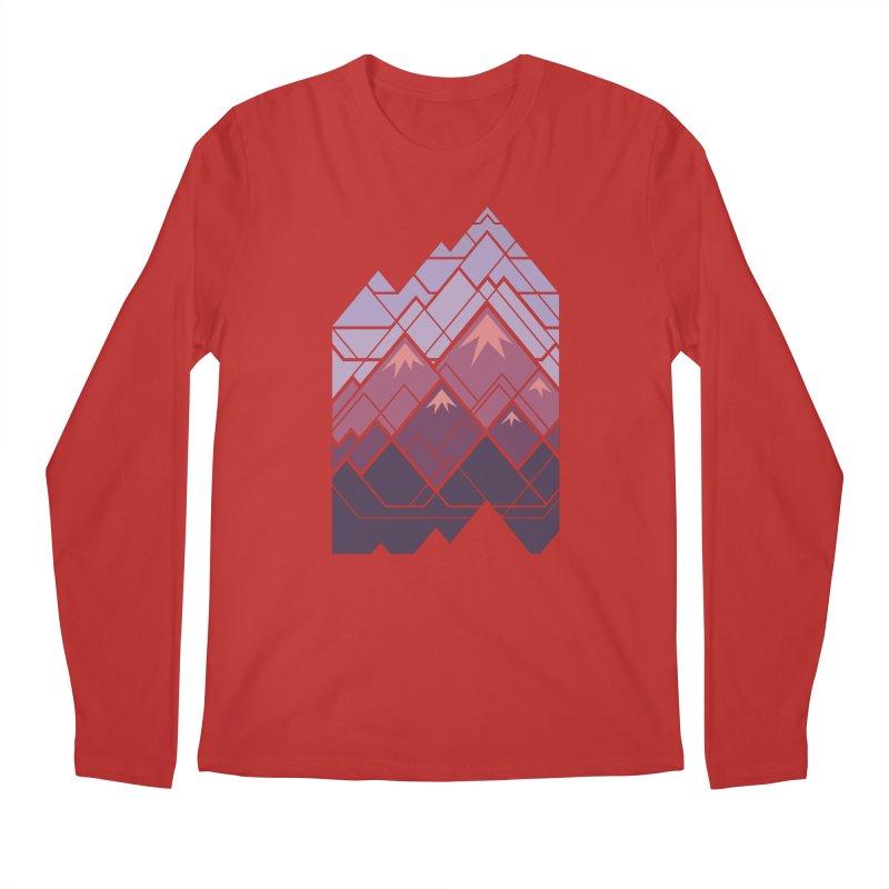 Geometric Mountains: Sunset Men's Regular Longsleeve T-Shirt by Waynem