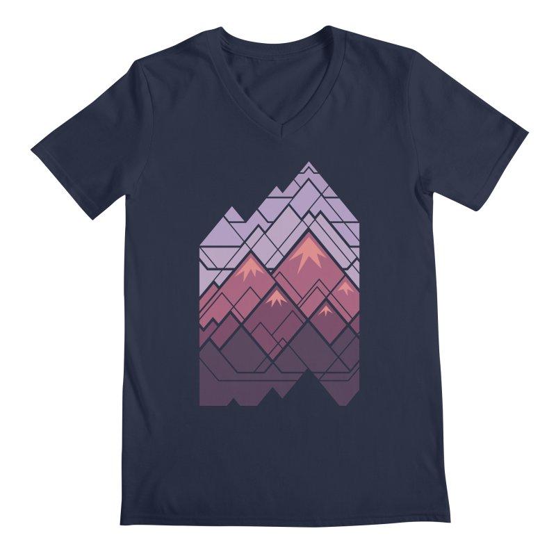 Geometric Mountains: Sunset Men's Regular V-Neck by Waynem