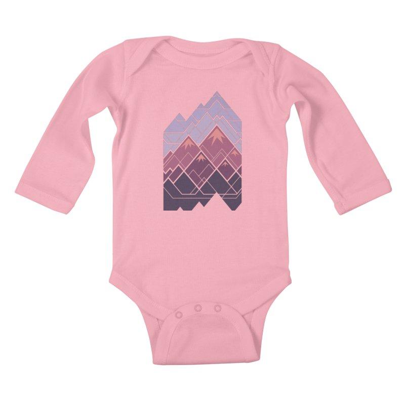 Geometric Mountains: Sunset Kids Baby Longsleeve Bodysuit by Waynem