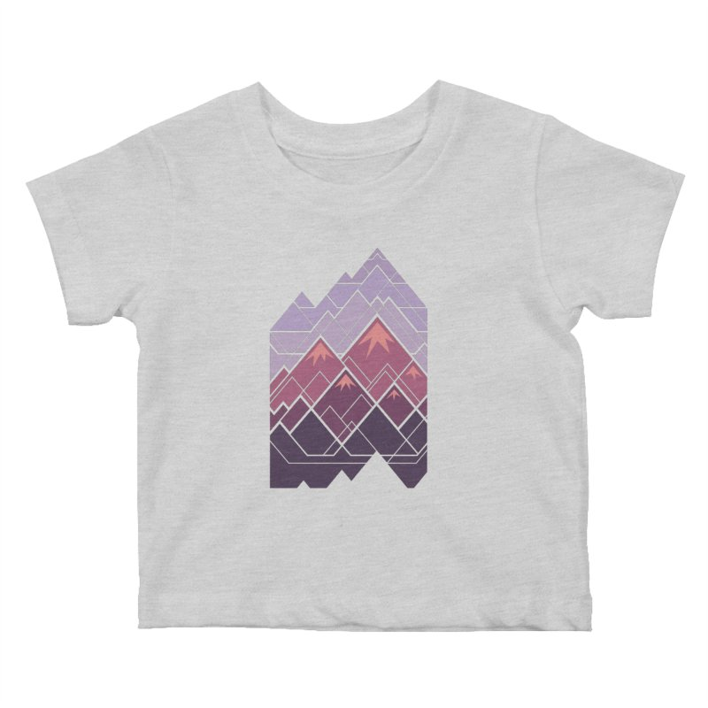 Geometric Mountains: Sunset Kids Baby T-Shirt by Waynem