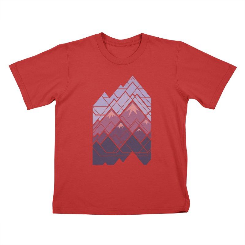 Geometric Mountains: Sunset Kids T-Shirt by Waynem