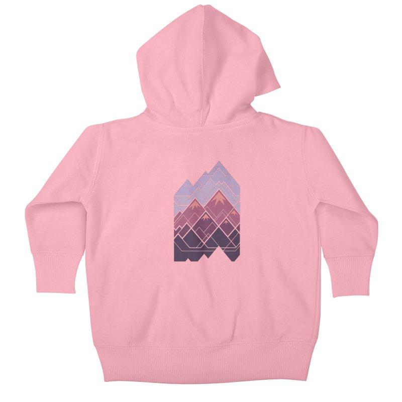 Geometric Mountains: Sunset Kids Baby Zip-Up Hoody by Waynem