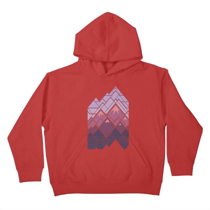 Geometric Mountains: Sunset Kids Pullover Hoody by Waynem