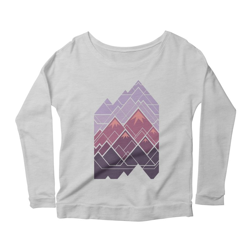 Geometric Mountains: Sunset Women's Scoop Neck Longsleeve T-Shirt by Waynem