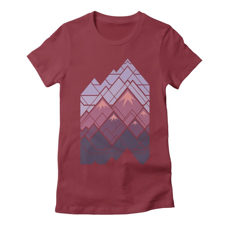 Geometric Mountains: Sunset Women's Fitted T-Shirt by Waynem