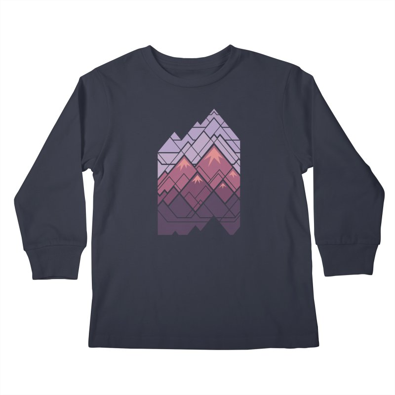 Geometric Mountains: Sunset Kids Longsleeve T-Shirt by Waynem