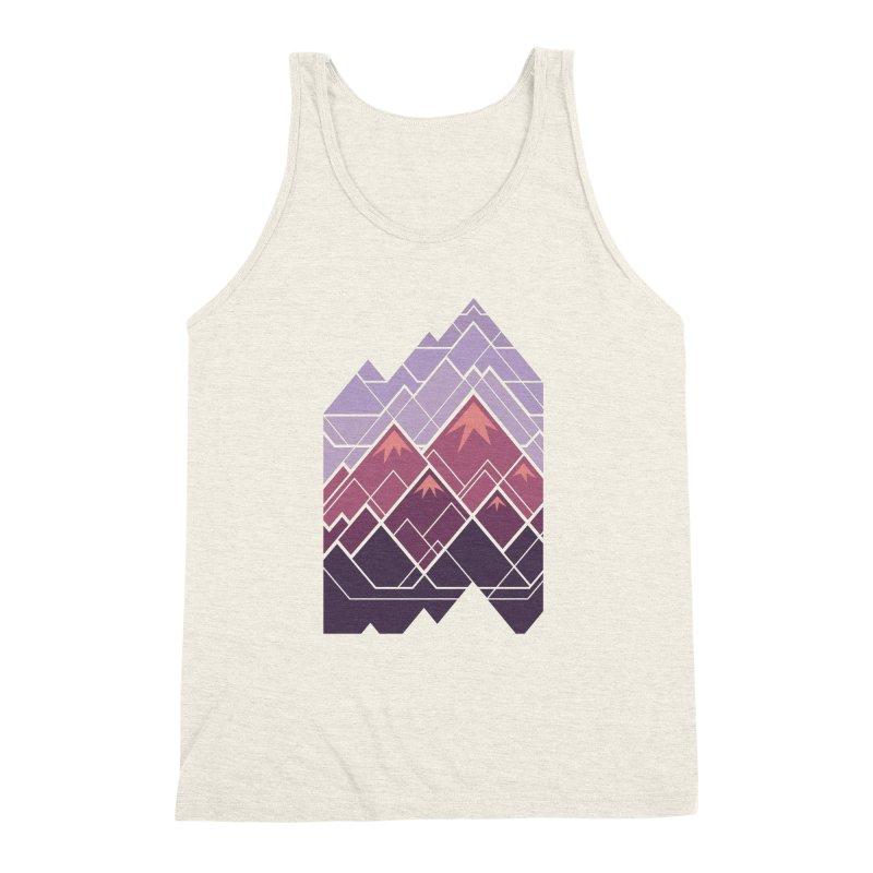 Geometric Mountains: Sunset Men's Triblend Tank by Waynem