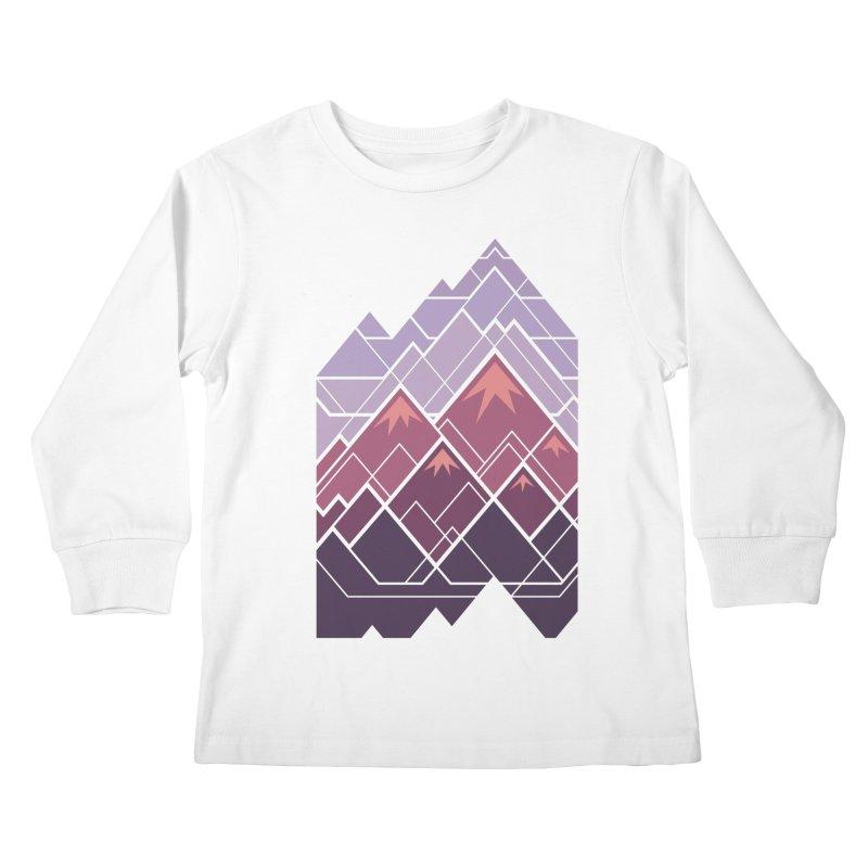 Geometric Mountains: Sunset Kids Longsleeve T-Shirt by Waynem