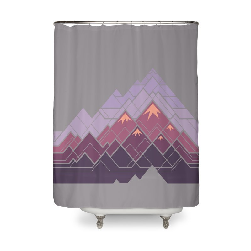 Geometric Mountains: Sunset Home Shower Curtain by Waynem
