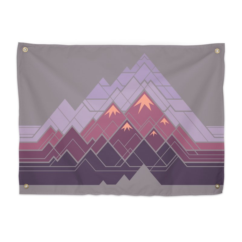 Geometric Mountains: Sunset Home Tapestry by Waynem