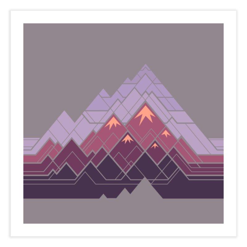 Geometric Mountains: Sunset Home Bath Mat by Waynem