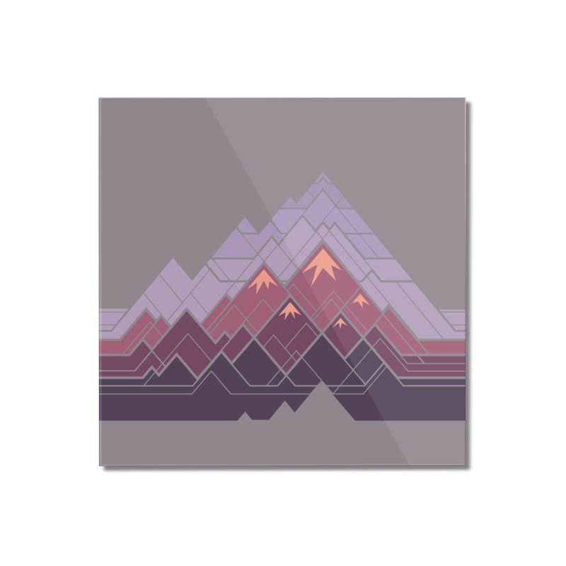 Geometric Mountains: Sunset Home Mounted Acrylic Print by Waynem