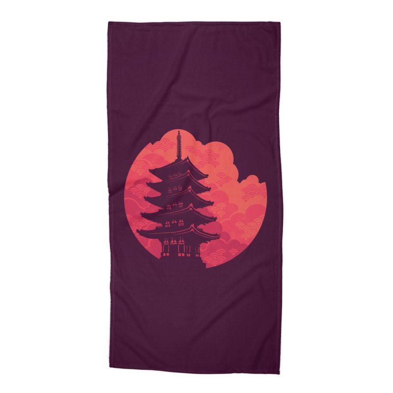 Pagoda Sunset Accessories Beach Towel by Waynem
