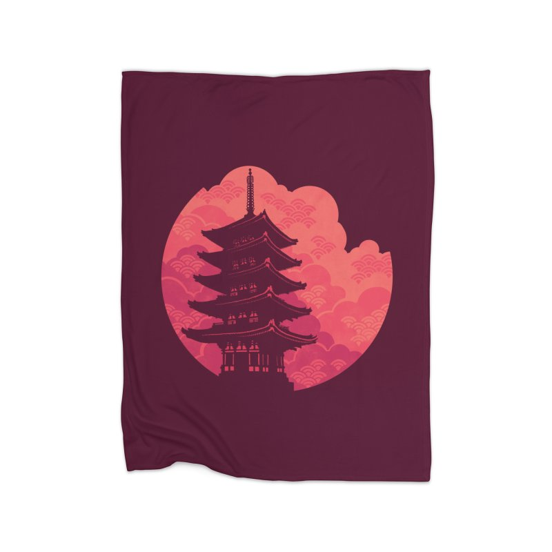 Pagoda Sunset Home Blanket by Waynem