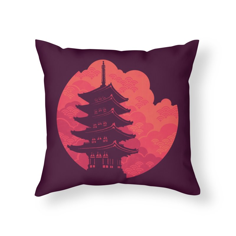 Pagoda Sunset Home Throw Pillow by Waynem