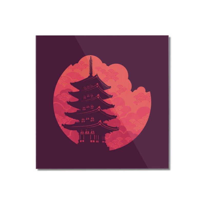 Pagoda Sunset Home Mounted Acrylic Print by Waynem