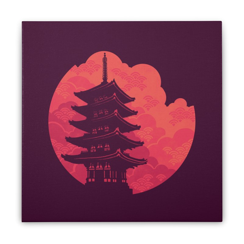 Pagoda Sunset Home Stretched Canvas by Waynem